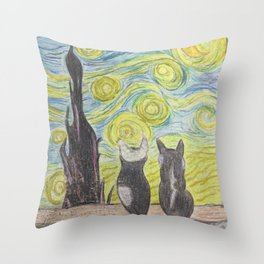 Stary Night Cats Throw Pillow