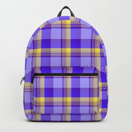 plaid in blues and sunny yellow Backpack