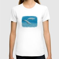 dolphins T-shirts featuring Sandscape Dolphins ~ Acrylic by Amber Marine