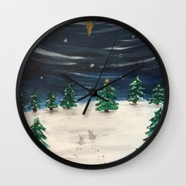 Christmas Snowy Winter Landscape Wall Clock