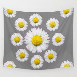 WHITE SHASTA DAISY FLOWERS  DECORATIVE GREY ART Wall Tapestry