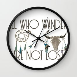 All Who Wander Are Not Lost Native American Dreamcatcher Arrows and Skull Wall Clock