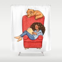 hermione Shower Curtains featuring Reading fictional characters: Hermione by Susanne
