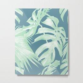 Tropical Leaves Luxe Ocean Teal Blue Pastel Green Metal Print