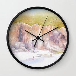 Porthcurno cliffs Wall Clock