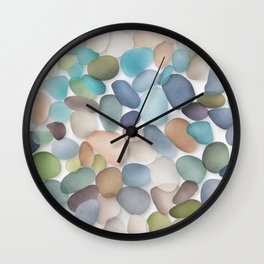 Assorted multicolored glass pebbles Wall Clock