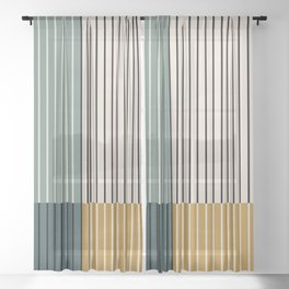 Color Block Line Abstract VIII Sheer Curtain