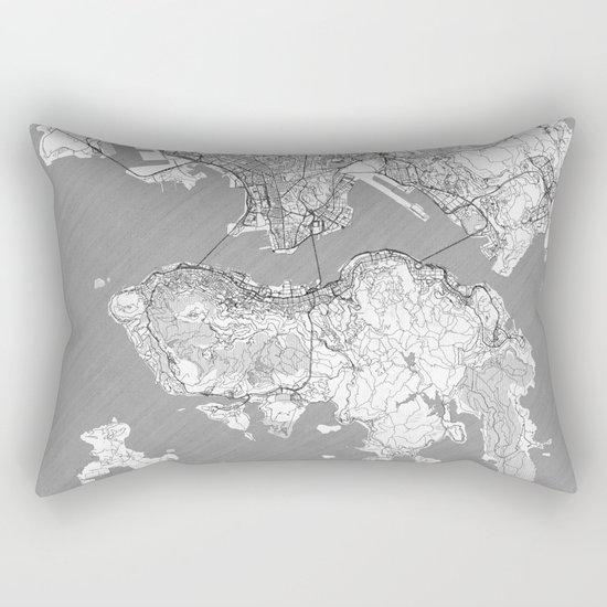 Hong Kong Map Line Rectangular Pillow
