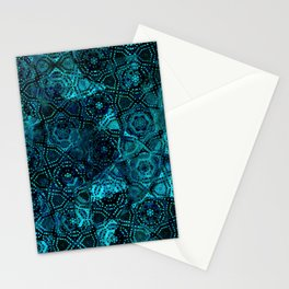 Starry Deep Blue Night Sky , Abstract Geometric Pattern with Moon Lit Domino Stars Stationery Cards