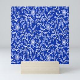 Vintage Lace Floral Sapphire Blue Mini Art Print