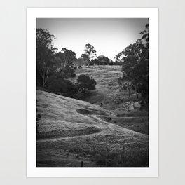 A track winding back Art Print