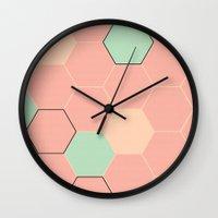 hexagon Wall Clocks featuring Hexagon  by Studio Joan