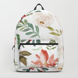 White roses & rusty-red Christmas poinsettia pattern Backpack