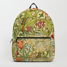 William Morris Golden Lily Vintage Pre-Raphaelite Floral Art Backpack