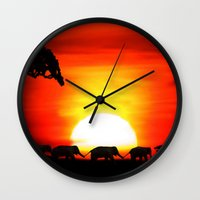 africa Wall Clocks featuring Africa by Selina Morgan