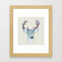 Christmas Deer - Forest animals series Framed Art Print