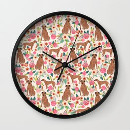 Rhodesian Ridgeback floral dog breed gifts pure breed must have dog pattern Wall Clock