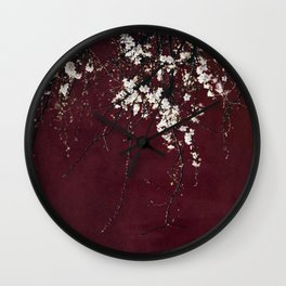 blossoms on ruby red Wall Clock