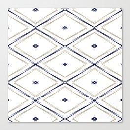 Navajo Pattern - Tan / Navy / White Canvas Print
