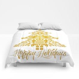 Ornate Pineapple Holiday Tree Comforters