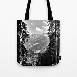 forest panorama kaunertal alps tyrol austria europe black white Tote Bag