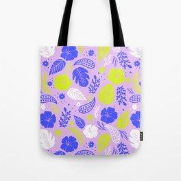 Purple & Neon Green Tropical Foliage Tote Bag