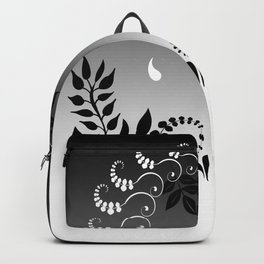 Black and white floral portrait Backpack