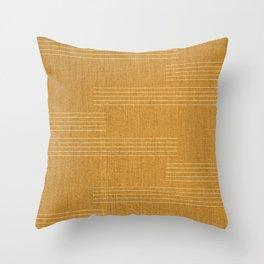 Minimal, Fine Stripe, Pattern, in Yellow Throw Pillow