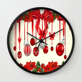 DECORATIVE RED CHRISTMAS ORNAMENTS &  HOLLY BERRIES  ART Wall Clock