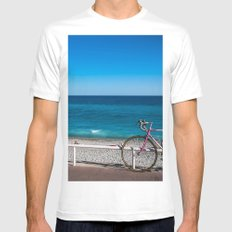 Beach and the bike - Nice, France summer White MEDIUM Mens Fitted Tee