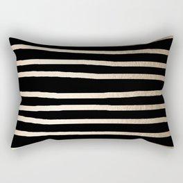 Simply Drawn Stripes White Gold Sands on Midnight Black Rectangular Pillow