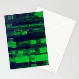 Green Glitch Stationery Cards