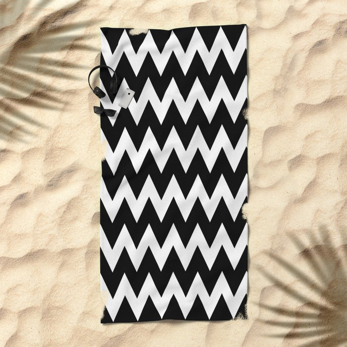 Chevron black white beach towel by beautifulhomes society6 for How to keep white towels white