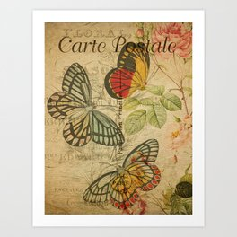 French Butterfly Collage Art Print