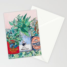 Jungle Botanical in Colorful Cans on Pink - Still Life Stationery Cards