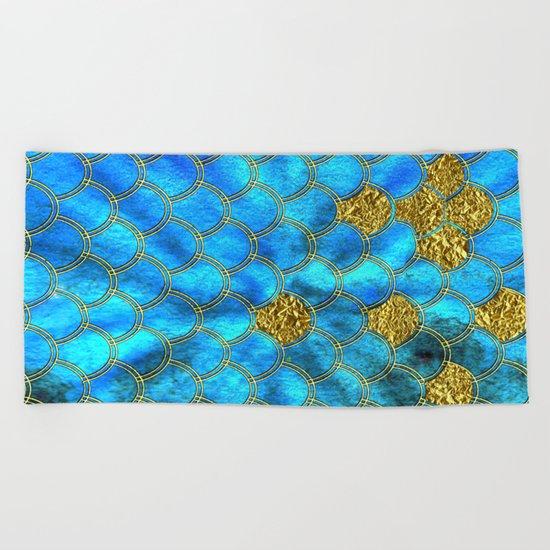 Blue aqua turquoise and gold glitter mermaid scales - Beautiful mermaidscales pattern on #Society6 Beach Towel
