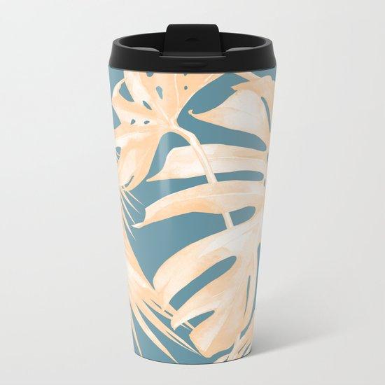 Island Vacation Hibiscus Palm Light Orange Teal Blue Metal Travel Mug