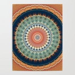 Dark Indigo Blue Orange Mandala Poster