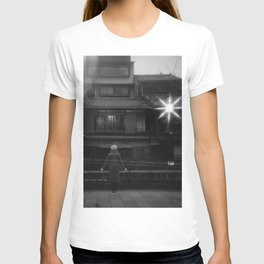 Girl in the Streetlights of Gion, Kyoto - Black and White Double Exposure Film Photograph T-shirt