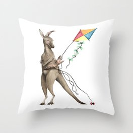 K is for Kangaroos flying Kites - Laugh-A-Bit Alphabet Watercolor ABC Nursery Decor Throw Pillow