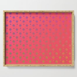 ombre stars large asterisks on red background Serving Tray