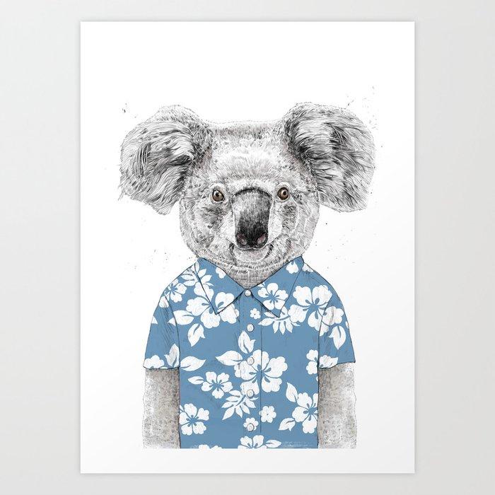 Summer koala (color version) Art Print