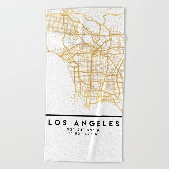LOS ANGELES CALIFORNIA CITY STREET MAP ART Beach Towel