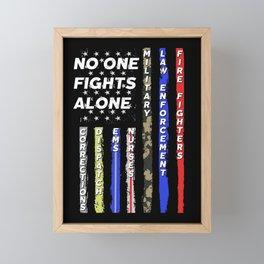 No One Fights Alone USA Flag Thin Line Police Fire Military Framed Mini Art Print