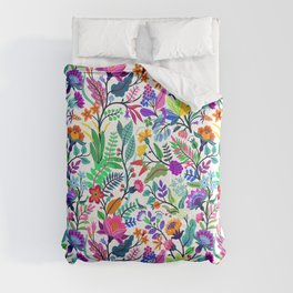 floral pattern with bright colorful flowers and tropic leaves on a white background. Modern floral background. Trendy Folk style. Comforters
