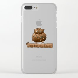 Fluffy Wisdom Owl with Scroll - Wise Beyond Years Clear iPhone Case