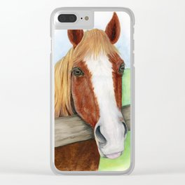 Cinnamon Horse Watercolor Clear iPhone Case