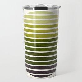 Olive Green Mid Century Modern Minimalist Scandinavian Colorful Stripes Geometric Pattern Round Circ Travel Mug