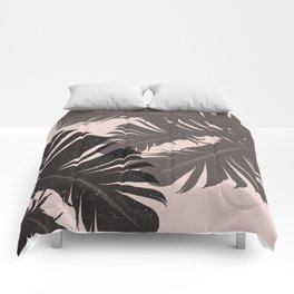 Tropical Leaf Silhouette in Pink Palette Comforters