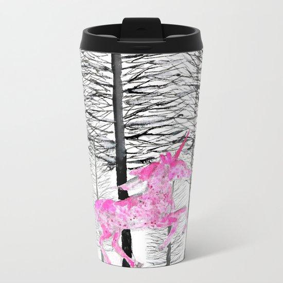 Pink unicorn in the wood Metal Travel Mug